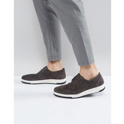 Asos casual derby shoes in grey suede with ribbed sole - grey