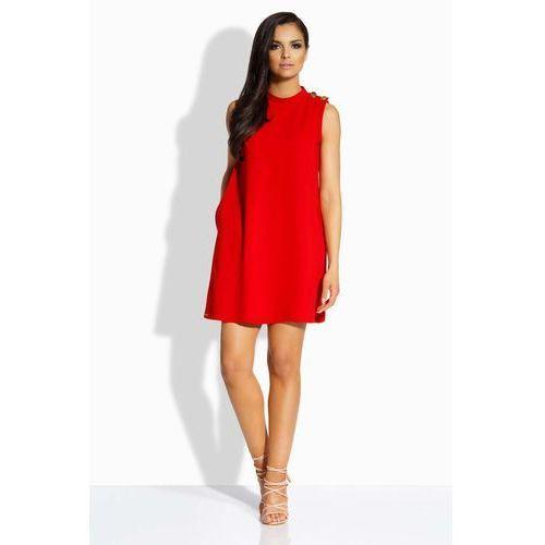 """Czerwona Sukienka o Linii """"A"""" z Guzikami na Ramionach, GL198re"""