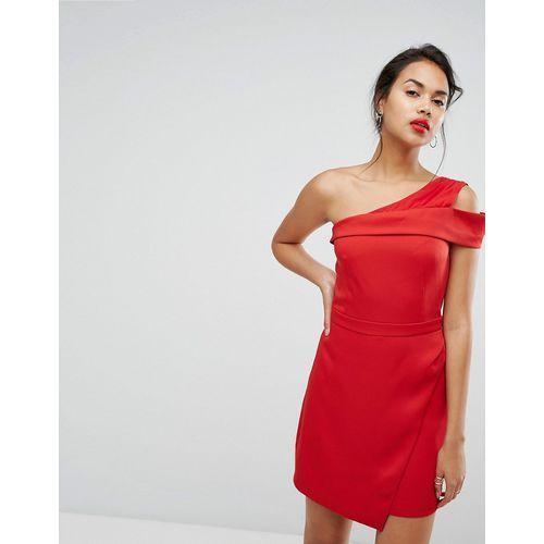 Morgan one shoulder pleat front mini dress - red