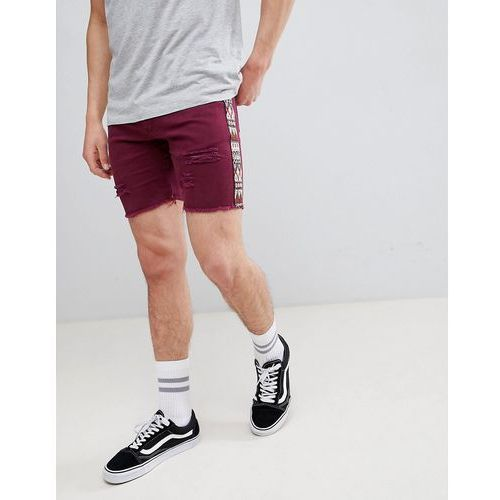 boohooMAN Skinny Fit Shorts With Aztec Detail In Purple - Purple