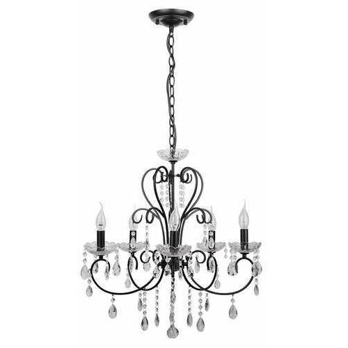 Candellux Aurora czarna z kryształkami 5xe14 lampa wisząca żyrandol 35-73730 (5906714873730)