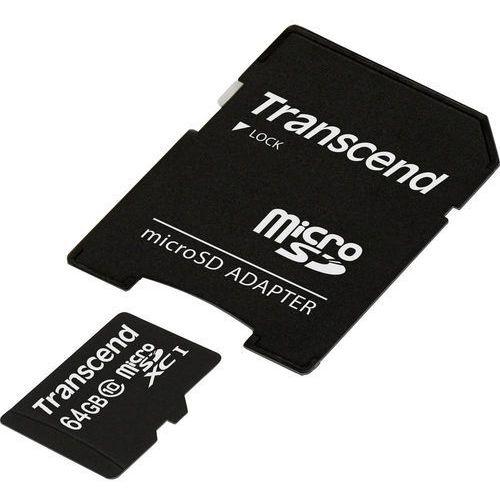 Karta pamięci microSDXC Transcend TS64GUSDXC10, 64 GB, Class 10, UHS-I, 45 MB/s / 15 MB/s, Premium