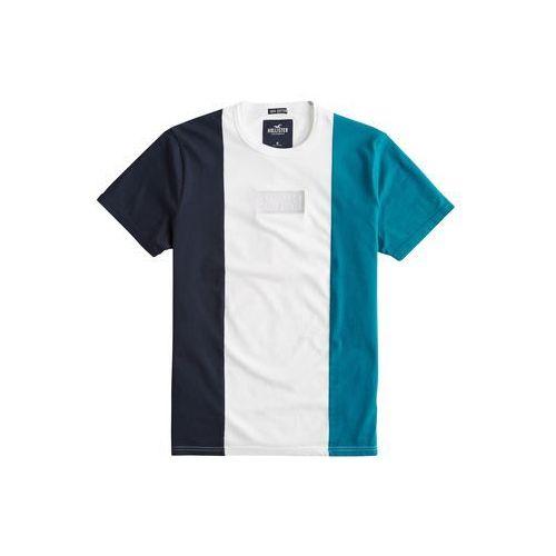 HOLLISTER Koszulka 'SS BLOCKING + SMALL EMB (F) 7CC' granatowy / turkusowy / biały, kolor niebieski