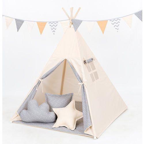 MAMO-TATO Namiot TIPI z matą i poduszkami Beż / mini gwiazdki białe na szarym