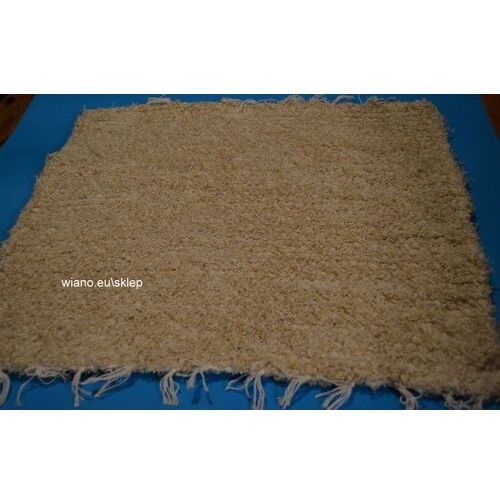 Twórczyni ludowa Chodnik bawełniany (wycieraczka) ręcznie tkany jasno beżowy 65x50