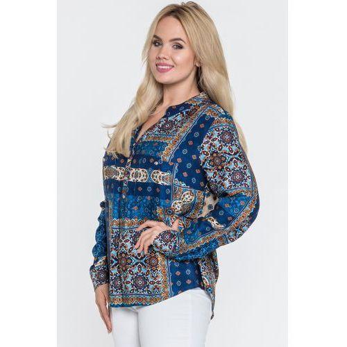 Wizytowa bluzka z dekoltem typu henley - Duet Woman, 1 rozmiar