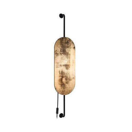 Novo Kinkiet lampa ścienna wheel 8427 drewniana oprawa geometryczna owalna cameleon moon czarna złota