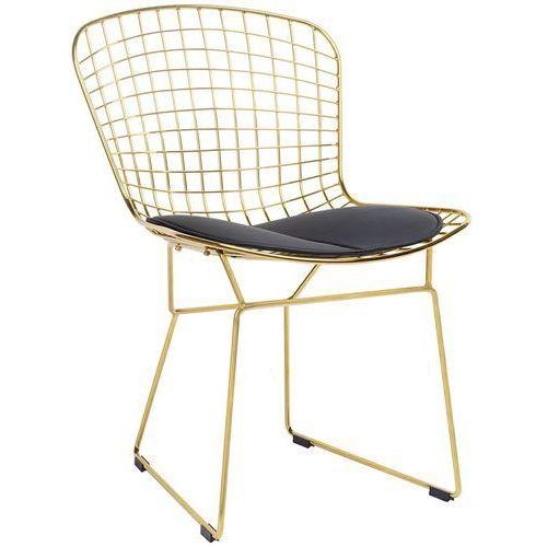 King home Krzesło metalowe net soft gold złote - metal, czarna poduszka