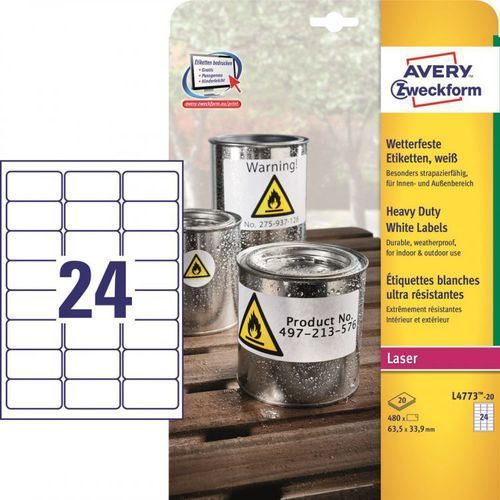 Avery zweckform Etykiety ochronne  heavy duty l4773, 63,5x33,9mm