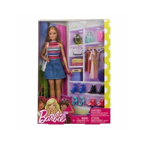 Lalka barbie z akcesoriami garderoba fvj42 marki Mattel