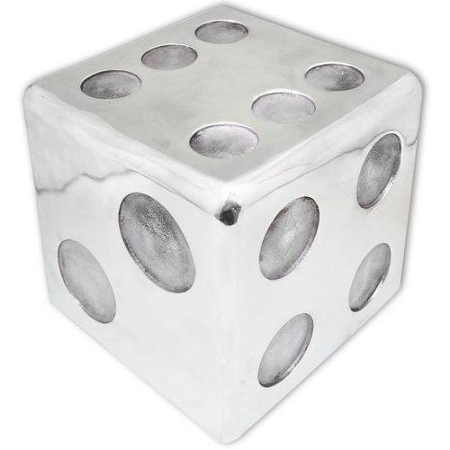 Vidaxl  taboret/stolik boczny, kostka do gry z aluminium, srebrny (8718475999416)