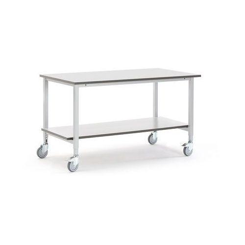 Mobilny stół roboczy MOTION, z półką dolną, 1500x800 mm, szary, 2740761