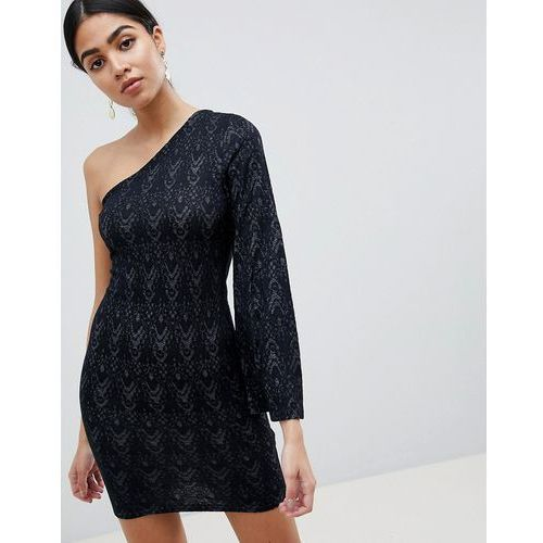 AX Paris One Sleeve Lace Mini Dress - Black, kolor czarny