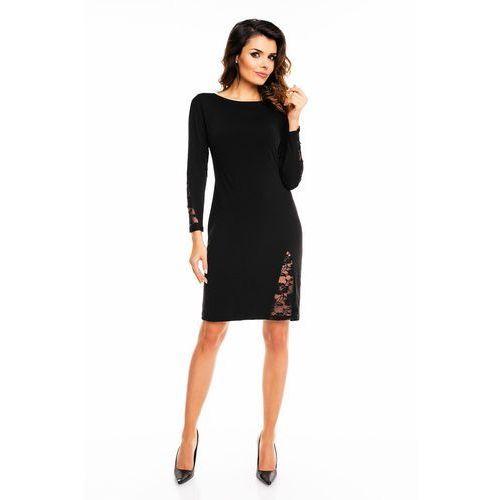 Czarna elegancka sukienka przed kolano z prześwitującą koronką marki Awama