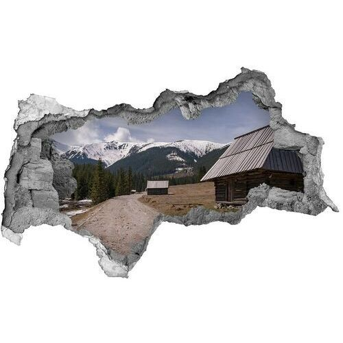 Dziura 3d w ścianie naklejka domek w górach marki Wallmuralia.pl