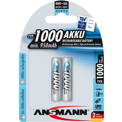 Ansmann Bateria 1x2 akku nimh micro 1000 mah darmowy transport (4013674030897)