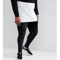 Sixth June PLUS Skinny Joggers In Black Velour With Zip Ankle - Black, kolor czarny