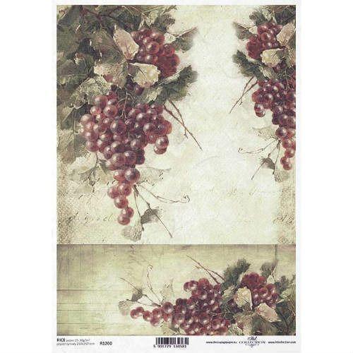Papier ryżowy 297x210 mm - winogrona vintage