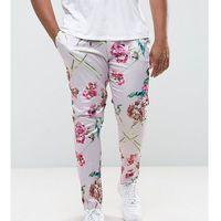 ASOS PLUS Super Skinny Smart Trousers In Pink Floral Print - Pink