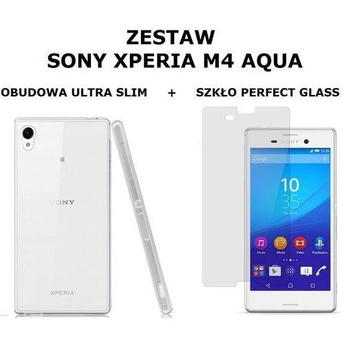 Zestaw szkło ochronne perfect glass + obudowa ultra slim przezroczysta sony xperia m4 aqua marki Ultra slim / perfect glass