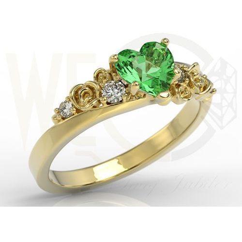 Węc - twój jubiler Pierścionek z żółtego złota z topazem swarovski rainforest i diamentami ap-5312z