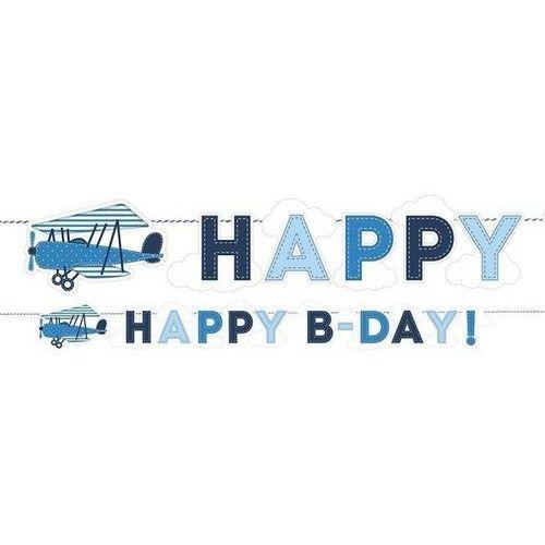 Party deco Baner urodzinowy happy birthday samolocik - 18 x 173 cm - 1 szt.