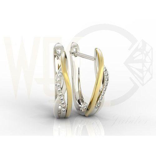 Węc - twój jubiler Kolczyki złote z białego i żółtego złota model lpk-73bz z diamentami 0,09 ct