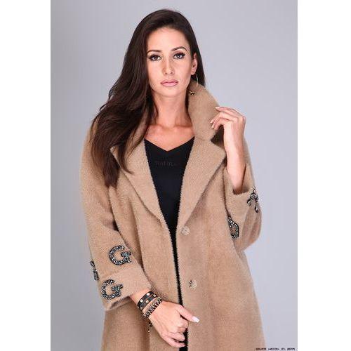 OKAZJA - Płaszcz Alpaka GG - Camel, kolor brązowy