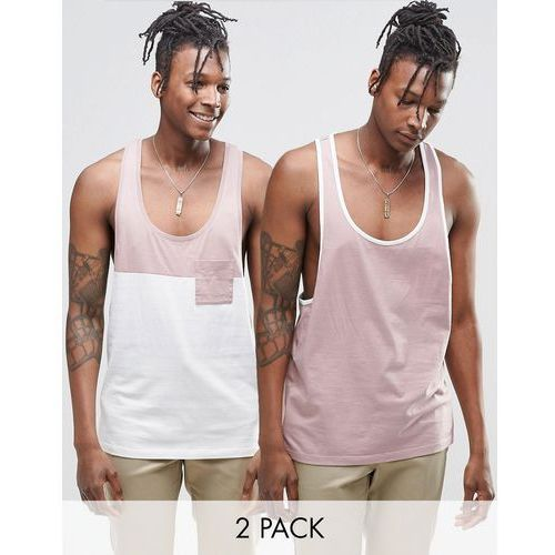 ASOS 2 Pack Vest With Contrast And Extreme Racer Back in Pink SAVE - Multi z kategorii Pozostałe