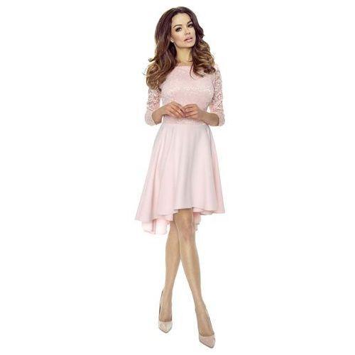 Jasno różowa sukienka rozkloszowana asymetryczna z koronkową górą, Bergamo, 36-42