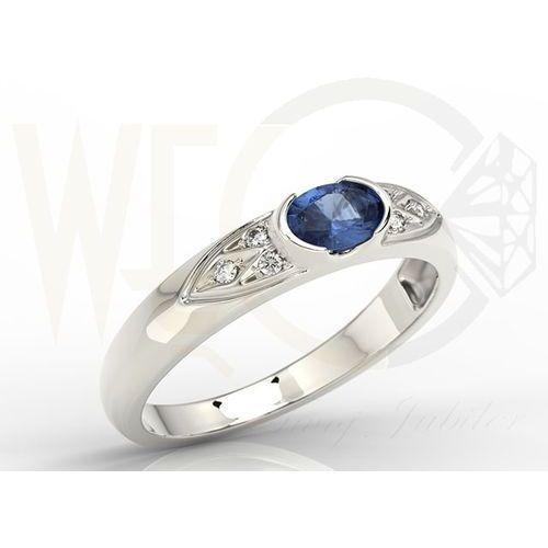 Węc - twój jubiler Pierścionek z białego złota z szafirem i diamentami 0,06 ct model ap-80b - białe \ szafir