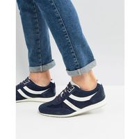 BOSS Suede Nylon Mix Trainers in Navy - Navy, kolor szary