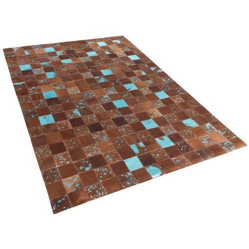 Beliani Dywan - brązowo-niebieski - skóra - patchwork - 140x200 cm - aliaga (4260580924721)