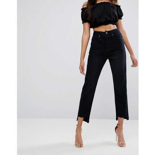 high waisted mom jeans with step hem - black marki Boohoo