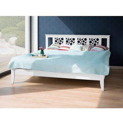 Łóżko białe - 160x200 cm - drewniane - ze stelażem - caen marki Beliani