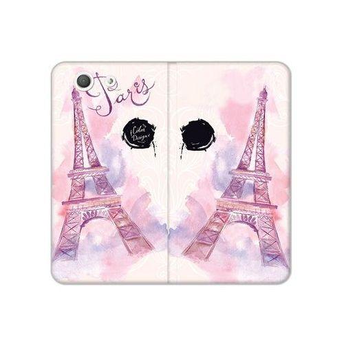 Sony Xperia Z3 Compact - etui na telefon Flex Book Fantastic - różowa wieża eiffla, kolor różowy