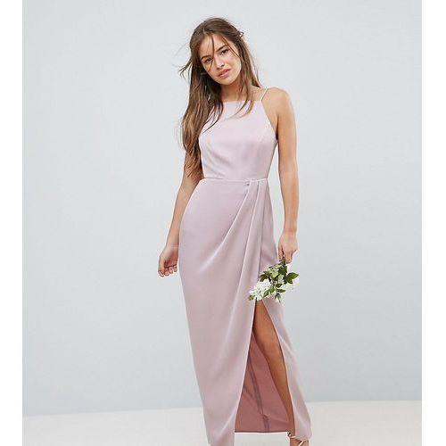 Asos design petite bridesmaid drape front strappy back maxi dress - pink, Asos petite