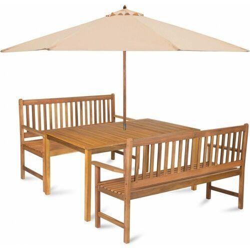 Fieldmann zestaw ogrodowy calypso 6 z parasolem, kremowy