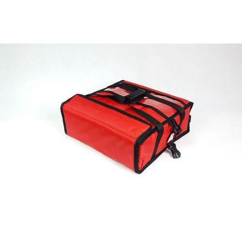 Podgrzewana torba wykonana z nylonu na 2 kartony do pizzy o wymiarach 450x450 mm, ze stelażem, czerwona z czarną lamówką   FURMIS, T2L PU