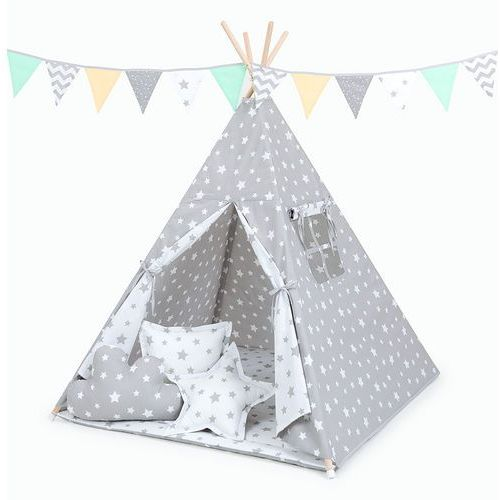 Mamo-tato namiot tipi z matą i poduszkami gwiazdy szare duże / gwiazdy białe duże