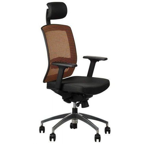 Stema - gn Fotel obrotowy biurowy z podstawą aluminiową i wysuwem siedziska model gn-301/pomarańcz krzesło biurowe obrotowe