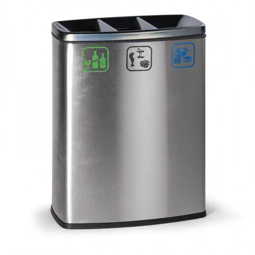 Kosz do segregacji śmieci, 78 l, ze stali nierdzewnej, kolor stalowy