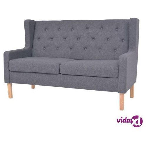 vidaXL 2-osobowa sofa tapicerowana tkaniną, szara