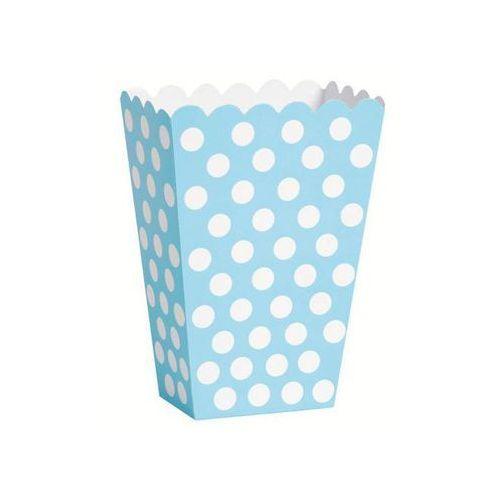 Pudełka na popcorn błękitne w białe kropki - 8 szt. marki Unique