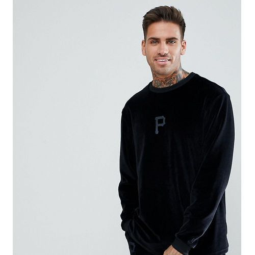 pittsburgh pirates velour long sleeve t-shirt in black - black, New era, S-XL