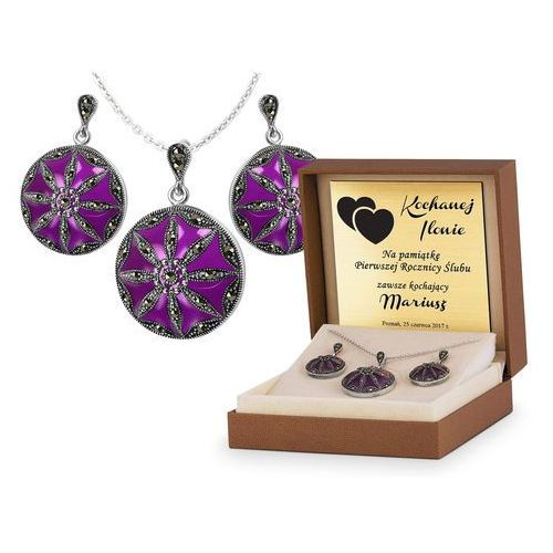 Srebrny komplet zestaw biżuterii 925 z grawerem ys26 marki Murrano