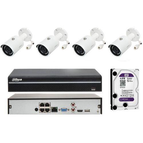 Zestaw monitoringu na 4 kamery tubowe w rozdzielczości 4mpx marki Dahua