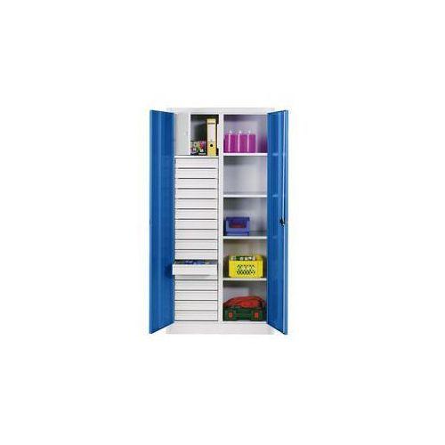 Szafka na materiały z blachy stalowej,4 półki, 16 szuflad, 1 schowek