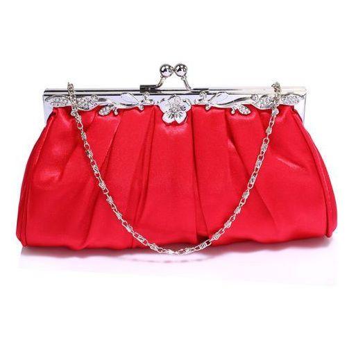 Delikatna satynowa torebka wieczorowa czerwona - czerwony, kolor czerwony