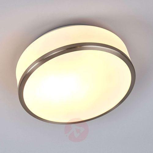 Searchlight Lampa sufitowa flush srebrna satynowana ip44 28cm (5013874395535)